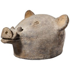 Ceremonial Terracotta Pig's Head from Mozambique