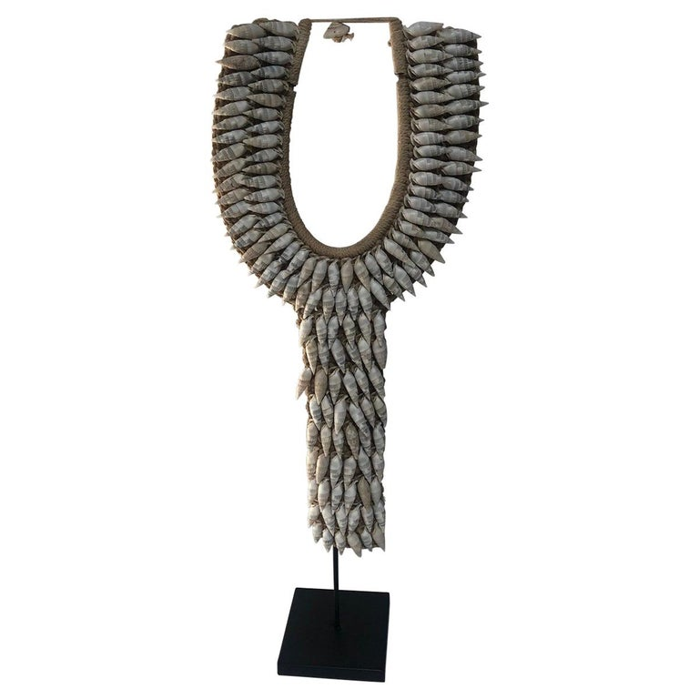 Ceremonial White Shell Necklace on Stand For Sale
