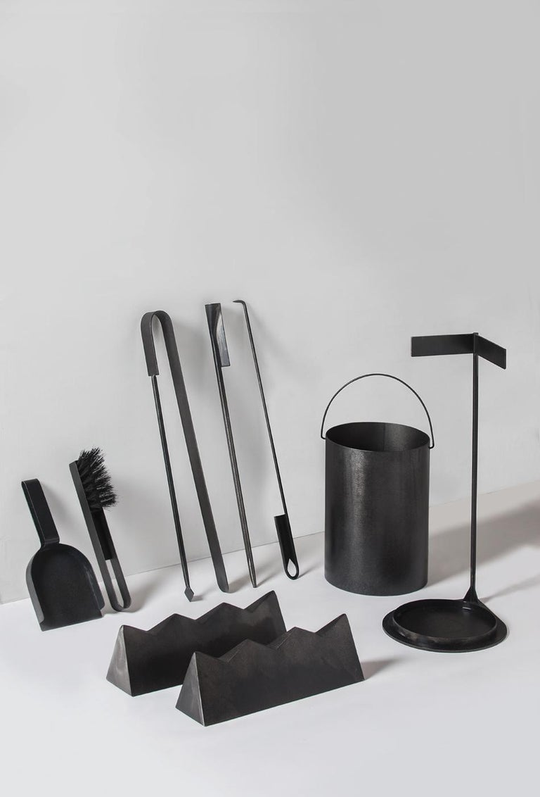 Minimalist Ceremony Fireplace Tool Set, Designer Ambroise Maggiar, Made by Flli. Argiolas For Sale