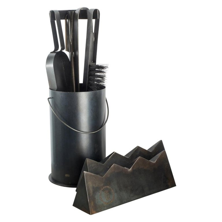 Ceremony Fireplace Tool Set, Designer Ambroise Maggiar, Made by Flli. Argiolas For Sale