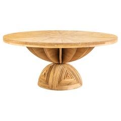 Ceroli Mario Rosa Dei Venti Round Large Table in Pinewood by Poltronova 1970s