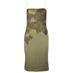 Cerruti 1881 Arte Green Slip Dress with Beads and Sequins, SS 1996, Size 4 US