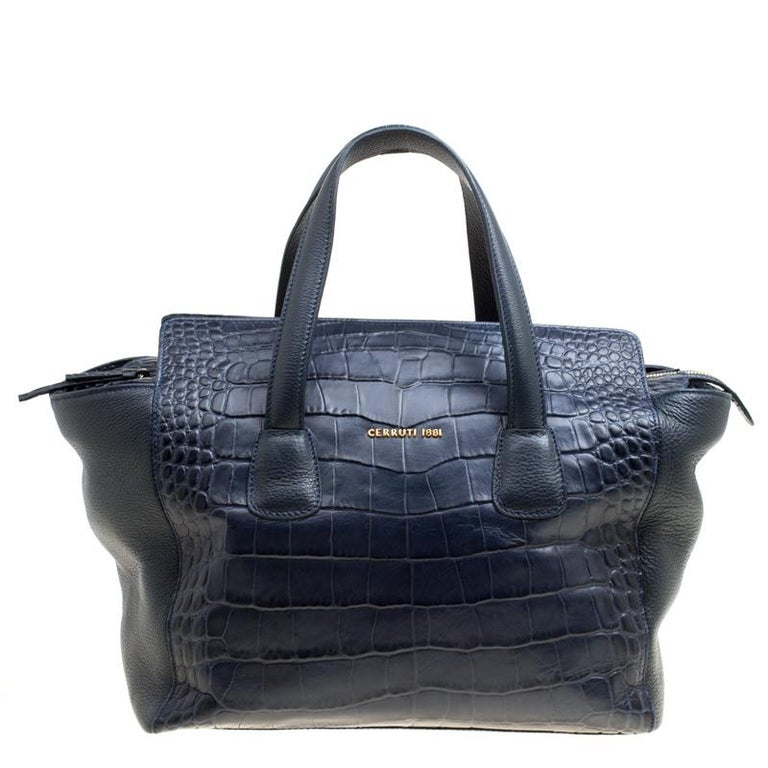 617e6ac6ed Cerruti 1881 Navy Blue Croc Embossed Leather Shopper Tote For Sale ...