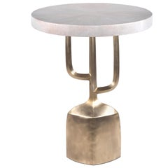 Cersei Side Table in Cream Shagreen and Bronze Patina Brass by R&Y Augousti