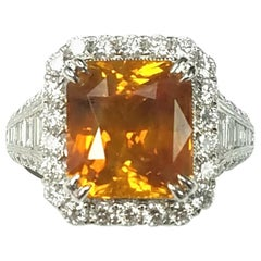 Cert. 18k Gold Emerald Cut Natural No Heat Fancy Orange Sapphire Diamond Ring