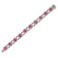 Certificated Burmese Ruby and Diamond Bracelet Set in Platinum 17 Carat Rubies