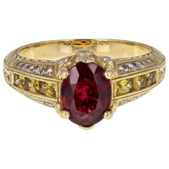 Certificated Red Spinel Yellow Sapphire Diamond Fancy 18 Carat Gold Ring