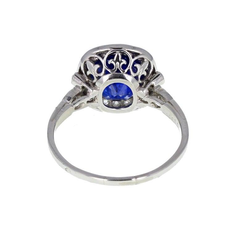 Art Deco Certificated Untreated Burma Sapphire Diamond Antique Platinum Cluster Ring For Sale