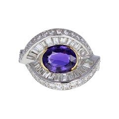 Certificated Vintage Purple Sapphire and Diamond Cocktail Cluster Ring