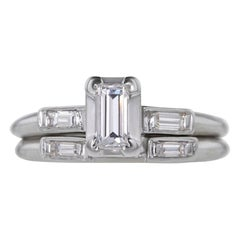 Certified 0.50 Carat Deco Emerald Cut Diamond Ring and Band Set in Gold
