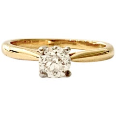 Certified 0.53 Carat Old Cut Diamond Ring Set in 18 Carat Yellow Gold