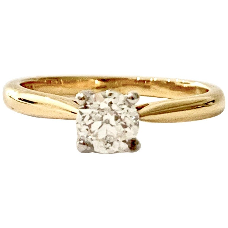Certified 0.53 Carat Old Cut Diamond Ring Set in 18 Carat Yellow Gold For Sale