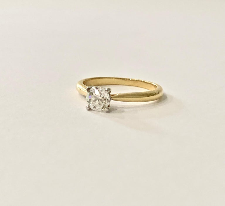 Certified 0.53 Carat Old Cut Diamond Ring Set in 18 Carat Yellow Gold For Sale 4