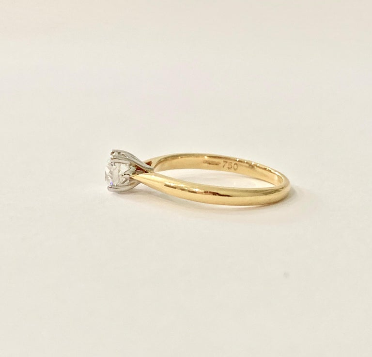 Modern Certified 0.53 Carat Old Cut Diamond Ring Set in 18 Carat Yellow Gold For Sale
