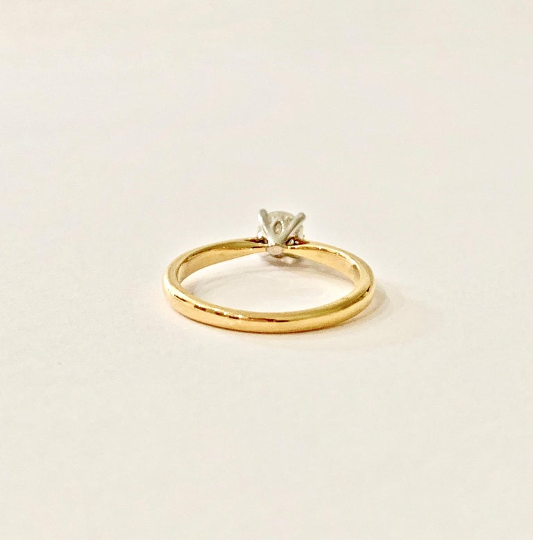 Round Cut Certified 0.53 Carat Old Cut Diamond Ring Set in 18 Carat Yellow Gold For Sale
