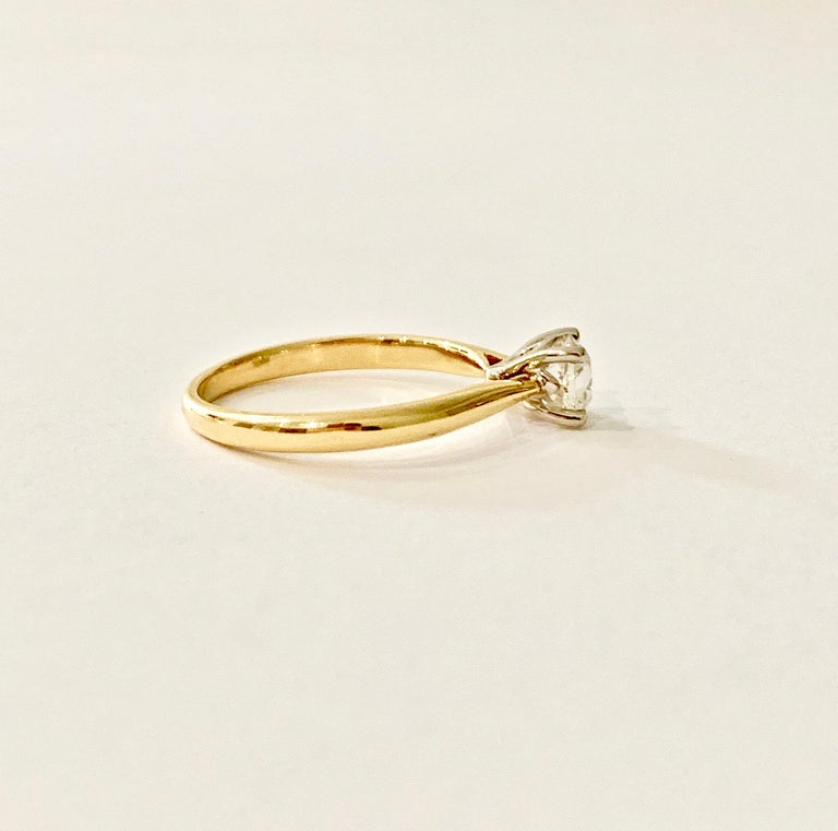 Certified 0.53 Carat Old Cut Diamond Ring Set in 18 Carat Yellow Gold In New Condition For Sale In Chislehurst, Kent