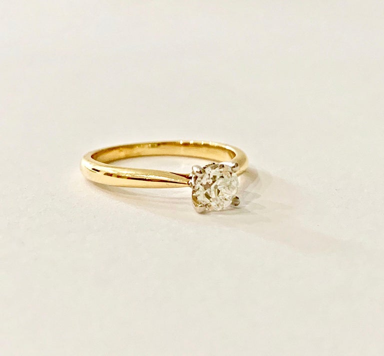 Women's Certified 0.53 Carat Old Cut Diamond Ring Set in 18 Carat Yellow Gold For Sale