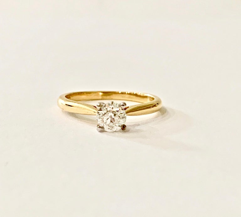 Certified 0.53 Carat Old Cut Diamond Ring Set in 18 Carat Yellow Gold For Sale 1