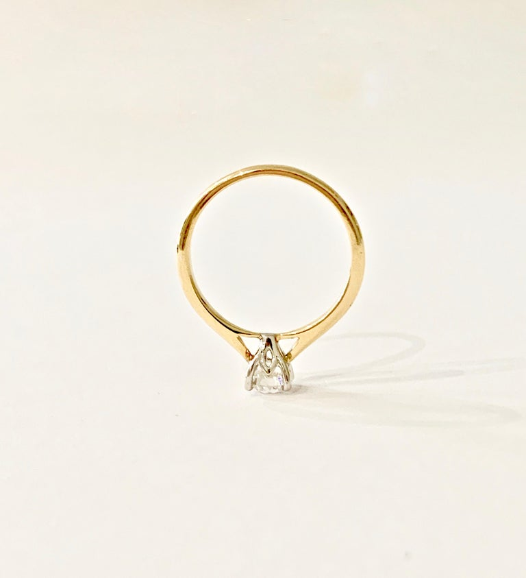 Certified 0.53 Carat Old Cut Diamond Ring Set in 18 Carat Yellow Gold For Sale 2