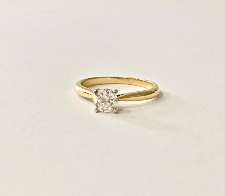 Certified 0.53 Carat Old Cut Diamond Ring Set in 18 Carat Yellow Gold For Sale 3