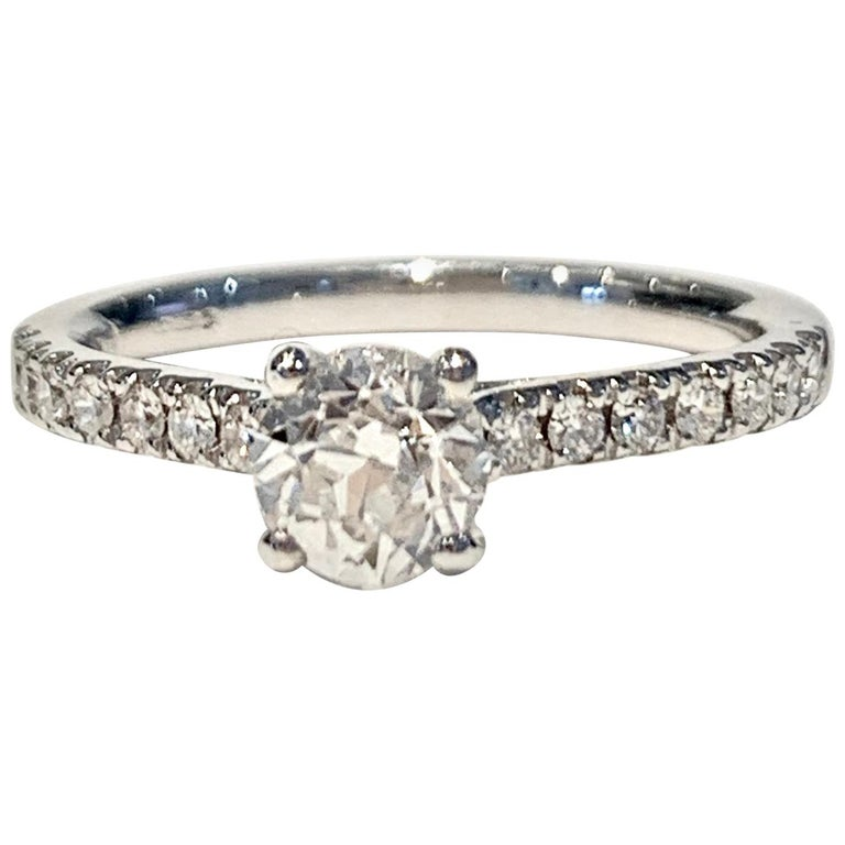 Certified 0.56 Carat Old Cut Round Brilliant Cut Diamond in 18 Carat White Gold For Sale