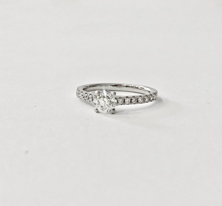 Certified 0.56 Carat Old Cut Round Brilliant Cut Diamond in 18 Carat White Gold For Sale 1