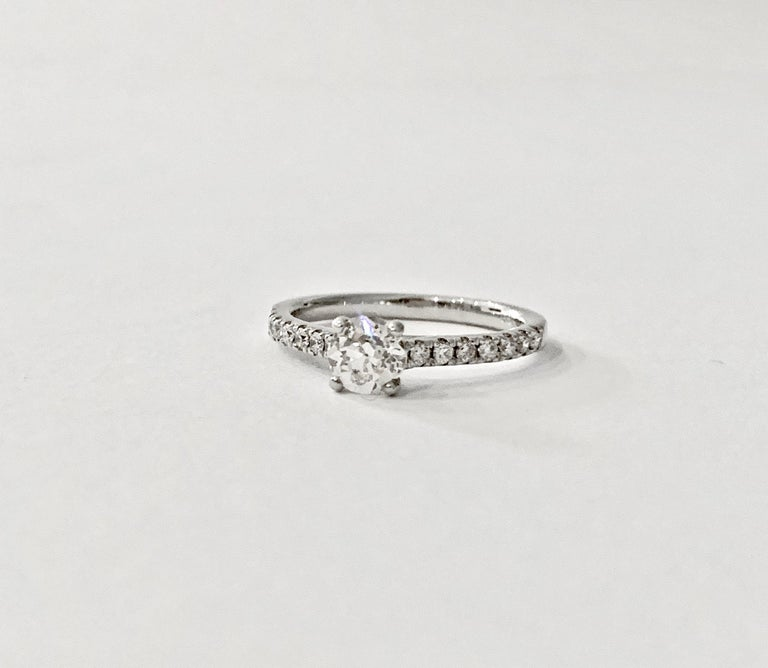 Certified 0.56 Carat Old Cut Round Brilliant Cut Diamond in 18 Carat White Gold For Sale 2