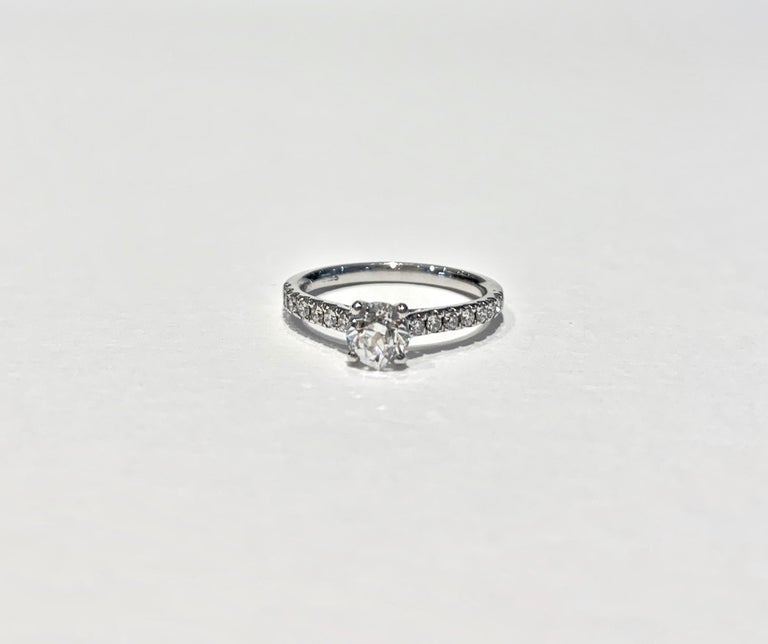 Certified 0.56 Carat Old Cut Round Brilliant Cut Diamond in 18 Carat White Gold For Sale 3