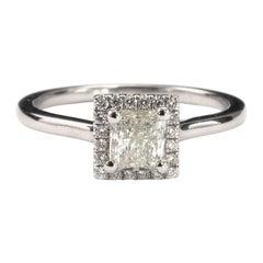 Certified 0.65 Carat Diamond Halo Ring 18 Karat White Gold Radiant Cut