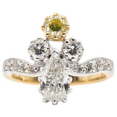 Certified 0.70 Carat Pear and Fancy Yellow Diamond Vintage 18 Carat Gold Ring