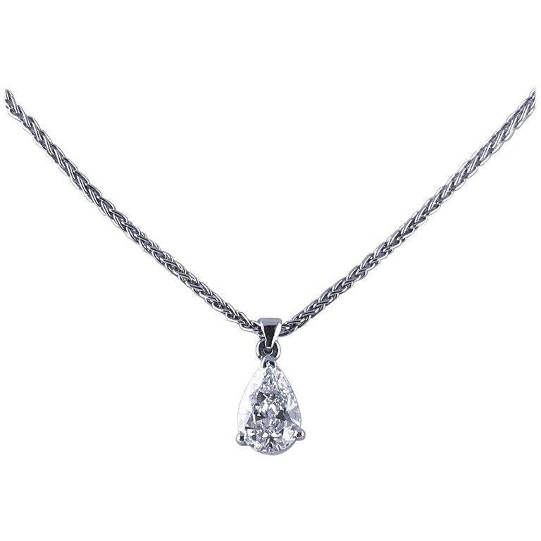 Certified 0.70 Carat Pear Shape D Color Diamond Drop Pendant