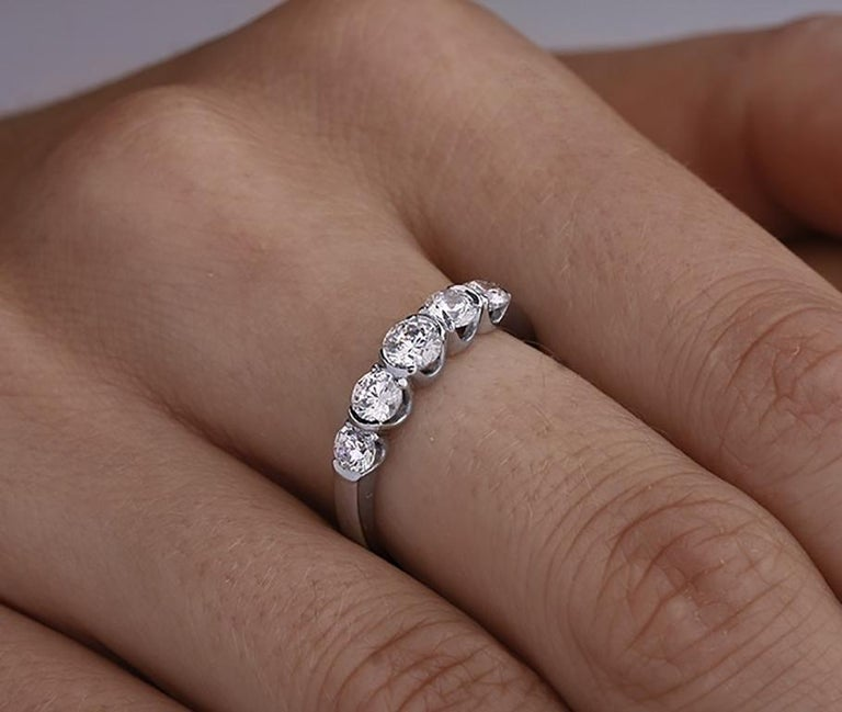 Round Cut Certified 0.75 Carat Round VS Diamond Eternity Ring Band in 14 Karat White Gold For Sale