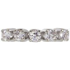 Certified 0.75 Carat Round VS Diamond Eternity Ring Band in 14 Karat White Gold