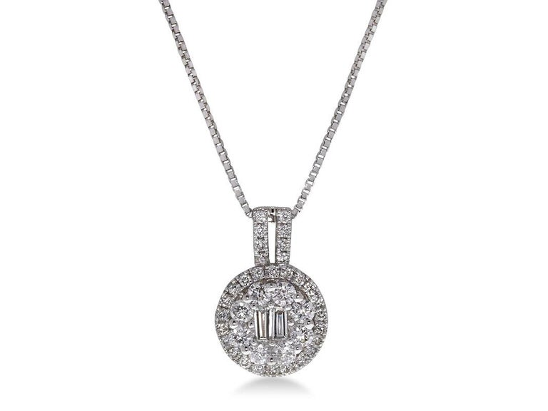 Intricate 0.80 Carat Baguette Round Diamond Pavé Pendant Necklace in 18K White Gold.  0.10 carats Baguette White VS-SI Diamonds Center, 0.70 carats of Round White VS-SI Diamonds Halo, and 1.44 grams of 18K White Gold in Pendant (with 14K white gold