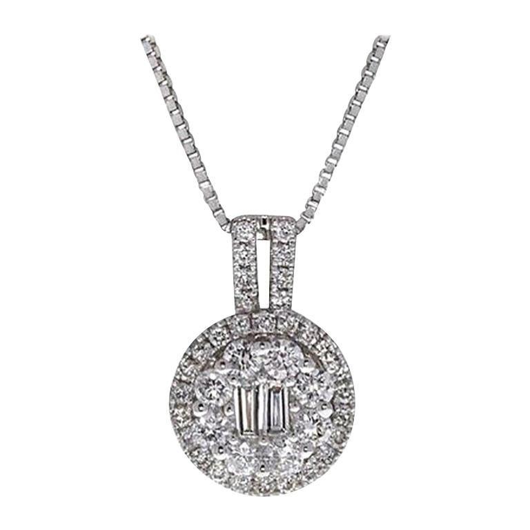 0.80 Carat Baguette Round Diamond Pavé Pendant Necklace 18 Karat Gold For Sale
