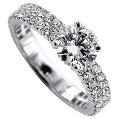Certified 0.95 Carat G VS2 Round Brilliant Cut Diamond Solitaire Engagement Ring