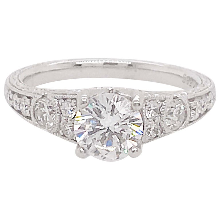Certified 1 Carat Diamond Vintage Style Ring and Antique Hand Engraving For Sale