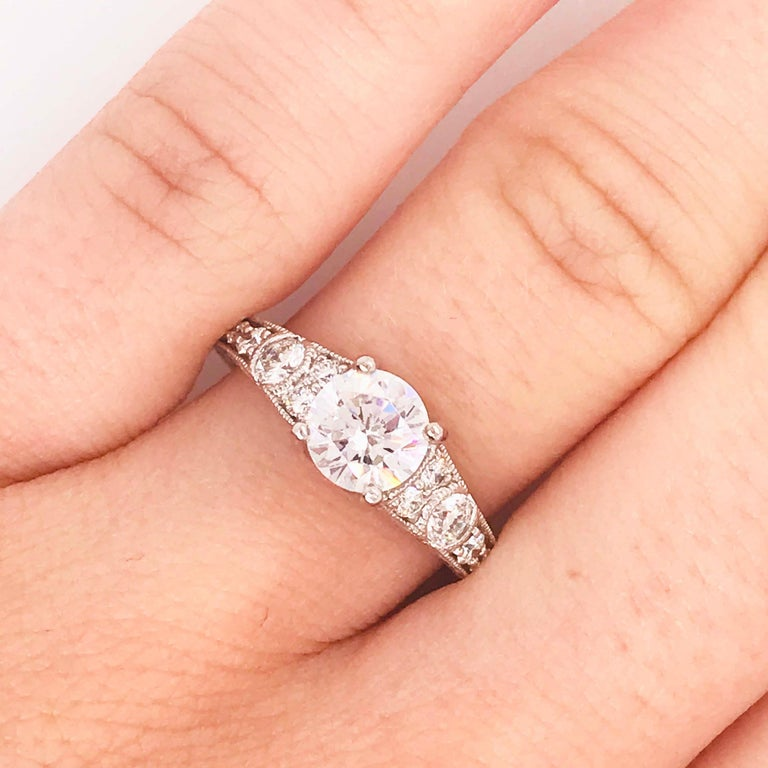 Art Nouveau Certified 1 Carat Diamond Vintage Style Ring and Antique Hand Engraving For Sale