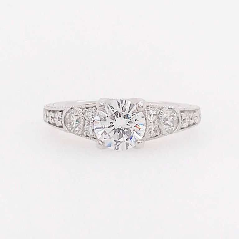 Round Cut Certified 1 Carat Diamond Vintage Style Ring and Antique Hand Engraving For Sale