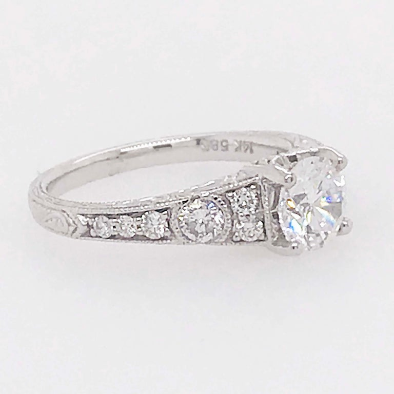 Certified 1 Carat Diamond Vintage Style Ring and Antique Hand Engraving In New Condition For Sale In Austin, TX