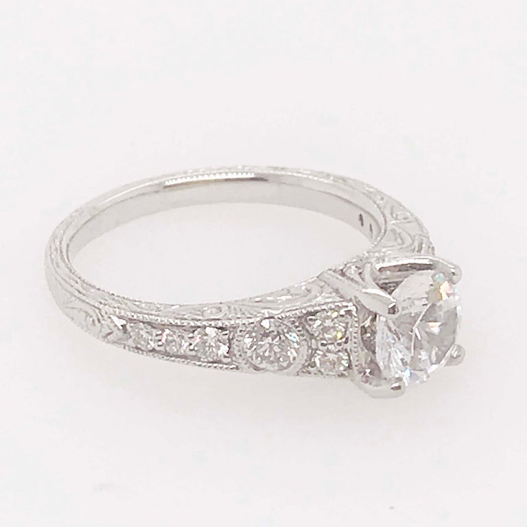 Women's Certified 1 Carat Diamond Vintage Style Ring and Antique Hand Engraving For Sale