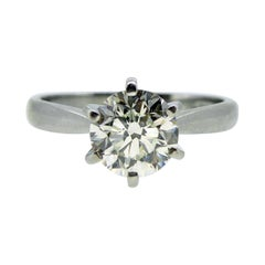 Certified 1.0 Carat Diamond Engagement Ring, Solitaire Setting, Platinum