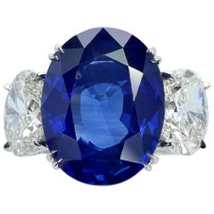 Certified 10 Carat Oval Sapphire and Diamond Three-Stone Platinum Ring