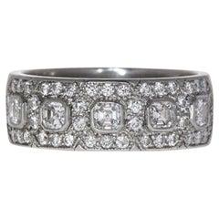 Certified 1.00 Carat Asscher Cut VVS Diamond Pavé Deco Ring in Platinum
