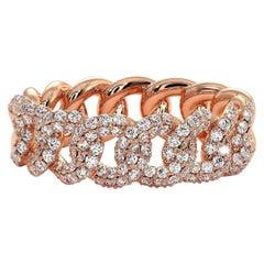 Certified 1.10 Carat Diamond Cuban Link Ring Band in 14 Karat Rose Gold
