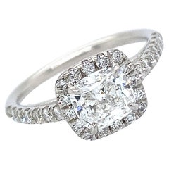 Certified 1.01 Carat Cushion Brilliant Diamond in Platinum Halo Engagement Ring