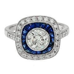 Certified 1.01 Carat Diamond Blue Sapphire Engagement Ring