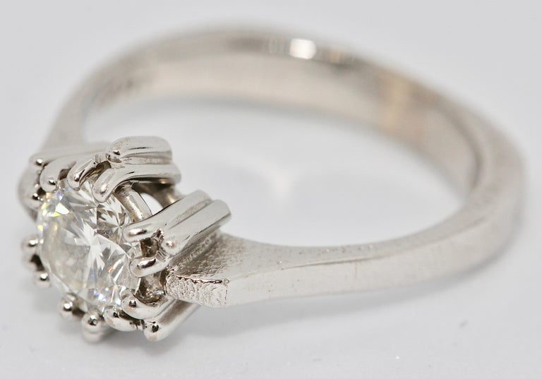 Modern Certified 1.01 Carat Flawless, Top Wesselton Diamond Solitaire, White Gold Ring For Sale