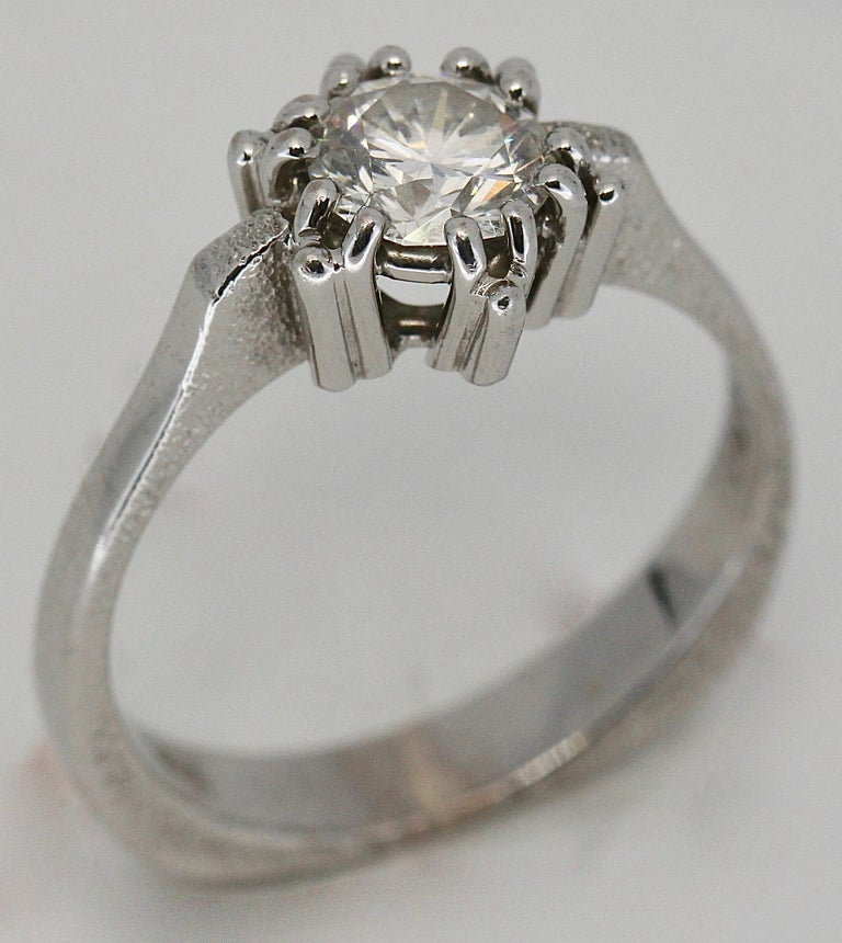 Women's Certified 1.01 Carat Flawless, Top Wesselton Diamond Solitaire, White Gold Ring For Sale