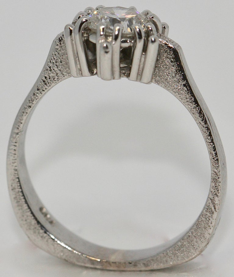 Certified 1.01 Carat Flawless, Top Wesselton Diamond Solitaire, White Gold Ring For Sale 1